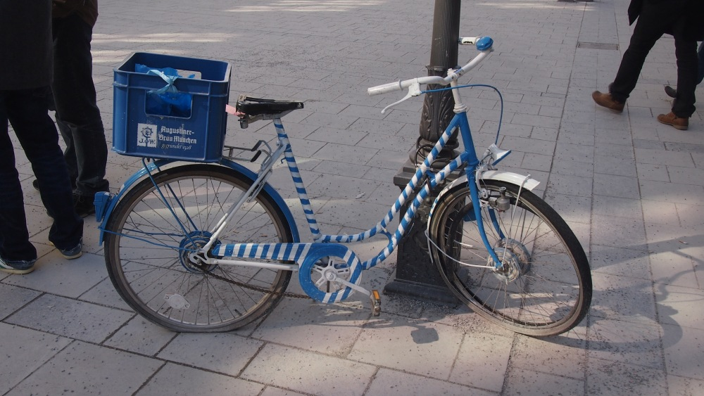 A blue bicycle